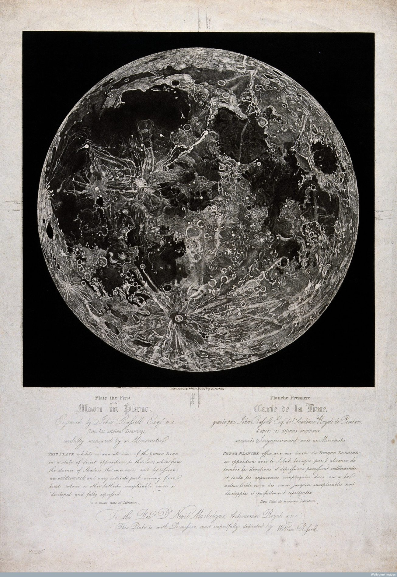 V0025742 The moon, viewed in full sunlight. Stipple engraving, 1805,